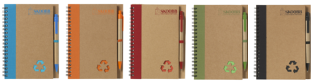 eco scribbler branded notebook colour options