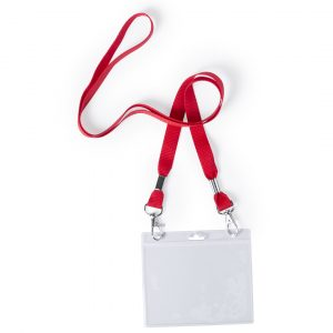 red double clip printed lanyard