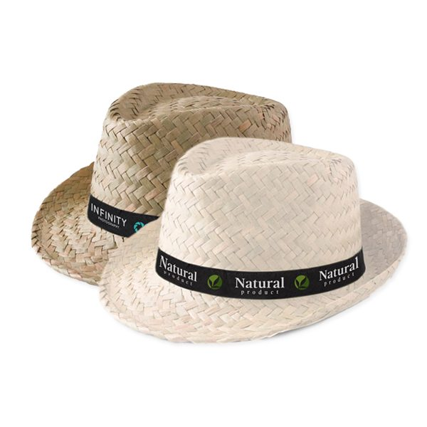 Branded Straw Hats with logo printed ribbon