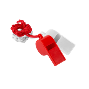 Promotional whistles in red and white