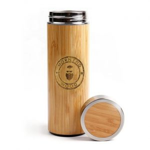 engraved bamboo flask