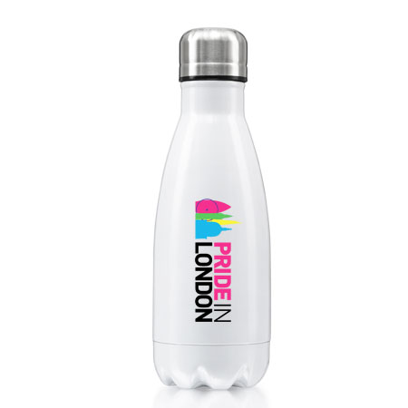 small white metal drinks bottle with logo printing