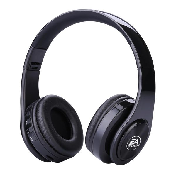 promotional Bluetooth Wireless Headphones in black printed with white logo