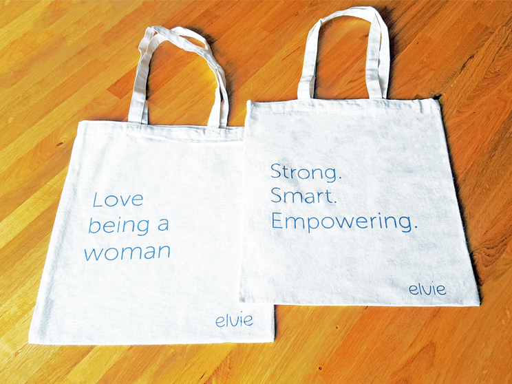custom tote bags for Elvie with double sided print