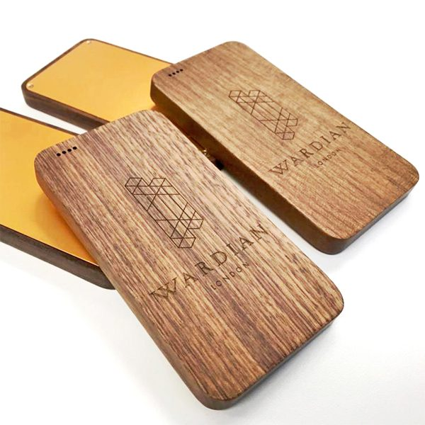 Wooden Power Bank engraved with logo