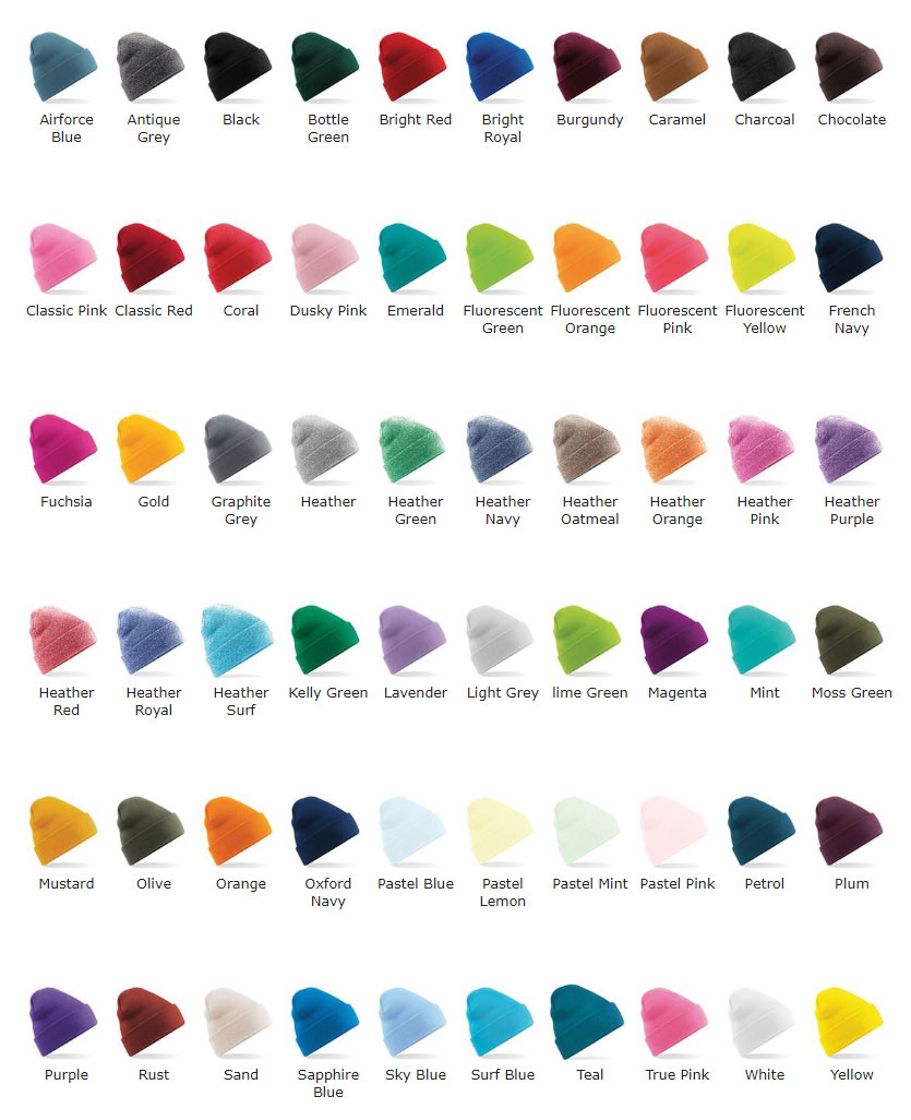 branded beanie hat colours