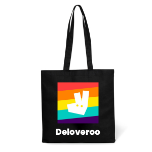 Branded black cotton tote bag pride merchandise