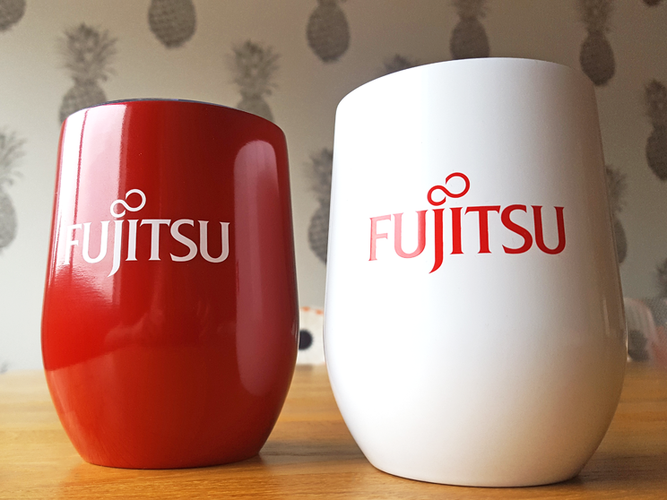 custom metal cups for Fujitsu in red and white