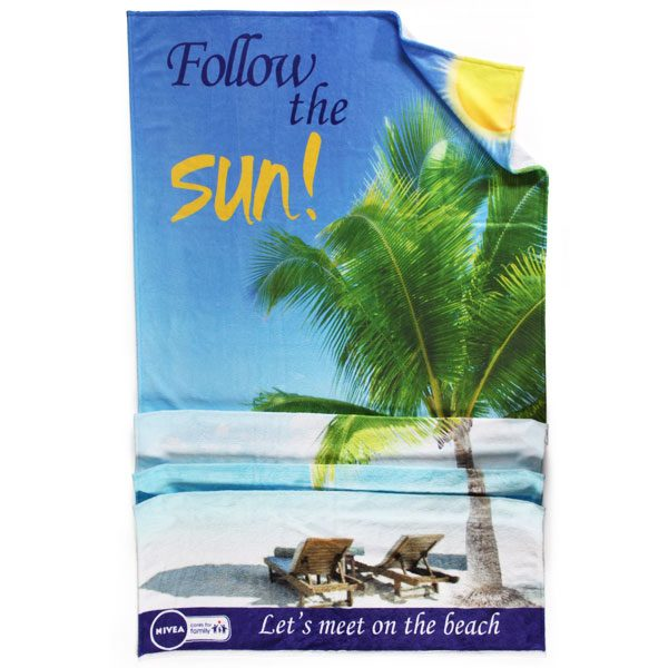 promotional beach towel printed with your design