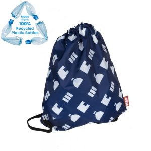 branded drawstring bag made from recycled materials