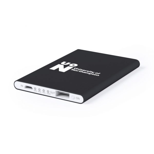 Black flat branded power bank
