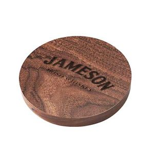 branded wooden qi charging mat