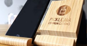 Bamboo Phone holder logo engraved