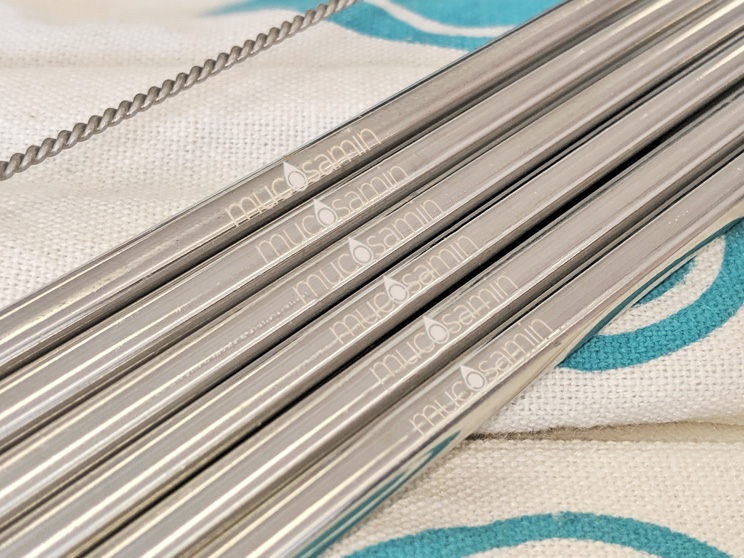 Logo engraved branded reusable straws