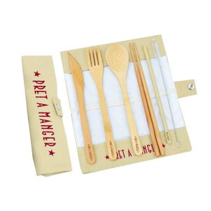 Branded bamboo cutlery set in cotton pouch with a knife, fork, spoon, chopsticks and a straw with a handy cleaning brush