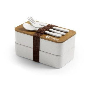 branded eco-friendly bento lunchbox with cutlery