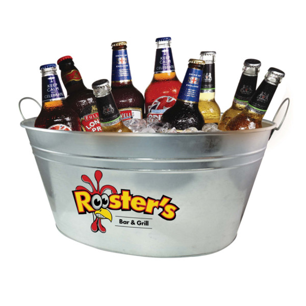 Branded Beer Bucket filled with beer and ice