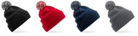 Branded Beanie Hats: Black, red, navy, grey